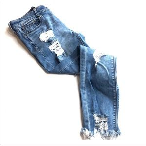 Express Jeans - High waisted distressed skinny ankle jean 00S